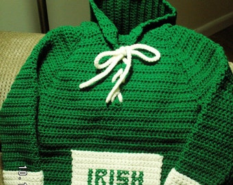 Irish Sweater Hand-crocheted for Infant, Toddler or Child