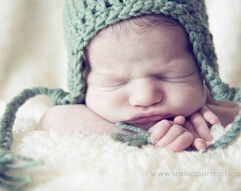Sage Green Earflap Hat for baby SIZE NEWBORN