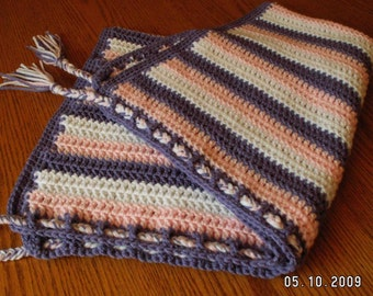 Name-your-colors braided blanket hand-crocheted for baby