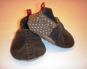 Baby Soft Crib ECO Friendly Shoes Corduroy 0 to 6 months  Hand Made Ready to Ship