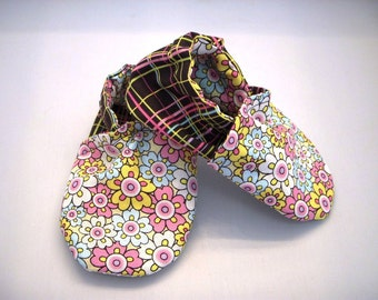 Baby Girl Flowers/ Plaid soft sole shoes 12 to 18 months READY to ship SALE