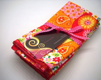 Cloth  Napkins Set of 5 Pink, orange and red patchwork.   Eco Friendy Hand Made in the USA Reusable READY to ship