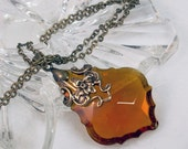French Cut Amber Prism in Bronze Filigree Necklace Jewelry Crystal Jewellery - Fire at Sunset