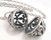 Silver Cage - Oval Scent Locket - Reserved for Puisun