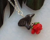 Rose and Raven - Onyx and Lampwork Pendant