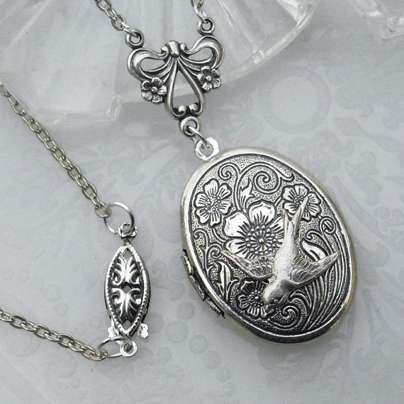 Etched Silver Locket - I'll Fly Away in the Morning