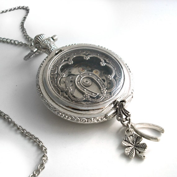 Lucky Pendant - Pocket Watch Art Collage Steampunk Necklace Jewelry
