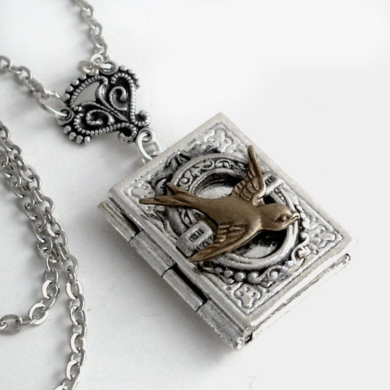Free Flight - Silver Book Locket Necklace Jewelry - by Gypsy Trading Company