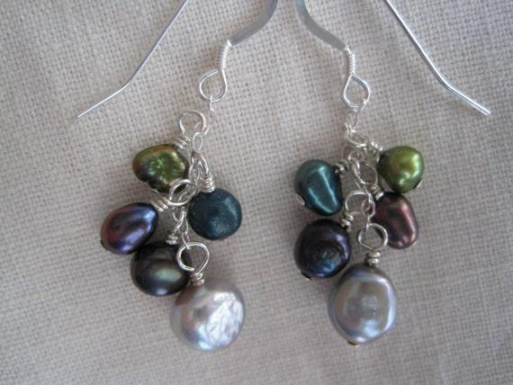 cluster dangle - multi-colored pearl