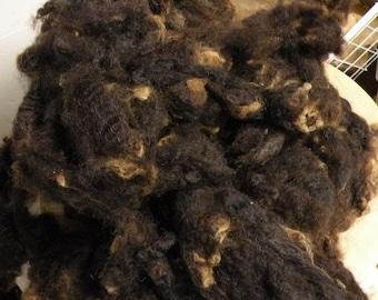 Beautfiul Dark Brown Border Liecester Wool 8 ounces