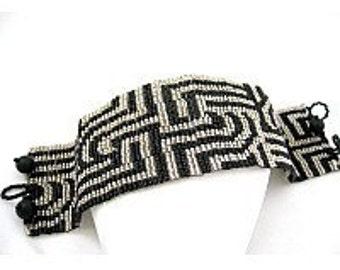Loom or 8 Even Drop Peyote Bead Pattern - Symmetry In Motion Cuff Bracelet
