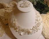 Crocheted Bridal Necklace & Earring Set
