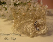 Beautiful  Lace Cuff, Crocheted Jewelry, Wedding Gifts, Holiday Gifts, Unique Jewelry, Women's Accessories, One of a Kind Jewelry, For Her