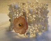 Crochet Wire Cuff, Wire Bracelet, Handmade Bracelet, White Crocheted Cuff, Handmade Cuff, Mother of Pearl Stones, Pearls, Flowers