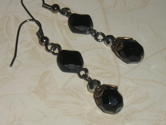 Jet Crystal Drop Earrings