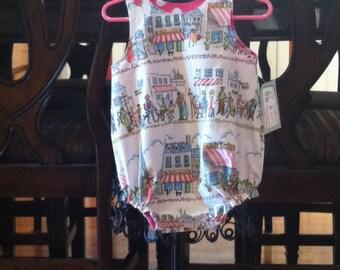 Girls 1st Birthday Outfit - Girls Spring Romper - Girls Bubble Romper - Eiffle Tower - Toddler Girl Clothing - Groovy Gurlz