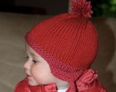 Pink. Burnt Orange Earflap Knit Baby Hat