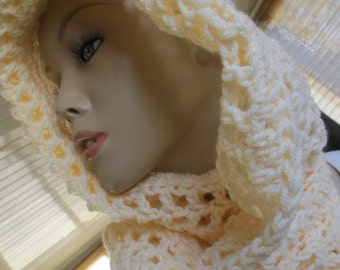 SALE - Pale Yellow Openwork Hooded Scarf/Scoodie (5001)