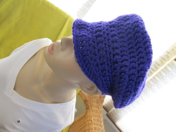 SALE - Bright Purple Chunky Newsboy Hat (215)