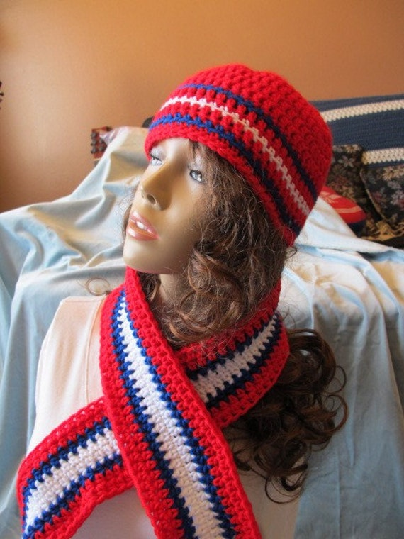 SALE - Montreal Canadiens Team Colors Hat and Scarf Set (909)