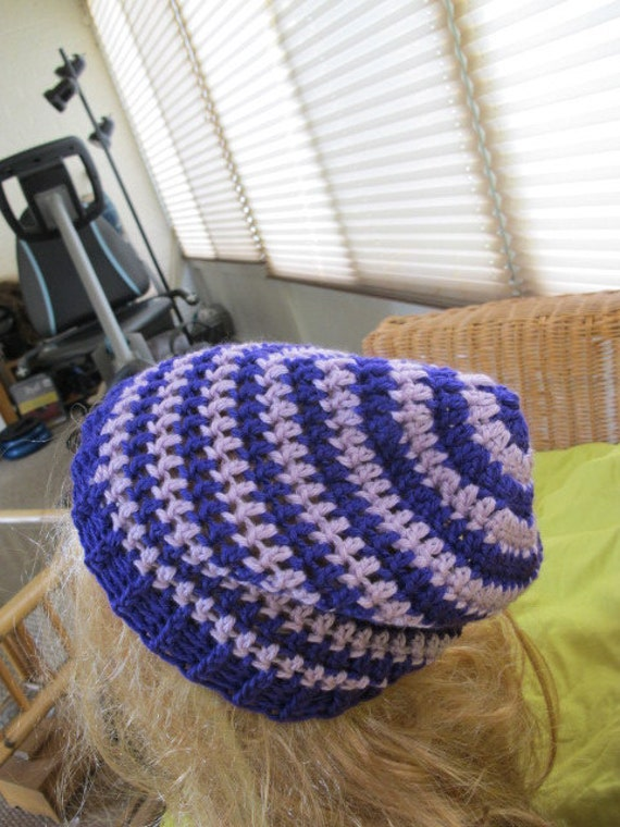 SALE - Purple Stripe Slouchy Beanie (387)