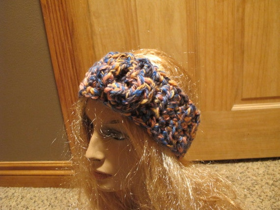 Coral Reef Wool Flower Accent Chunky Winter Headband (499)