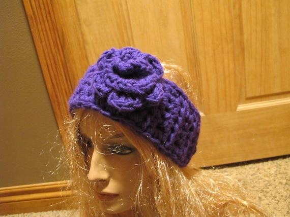 Bright Purple Flower Accent Chunky Winter Headband (506)