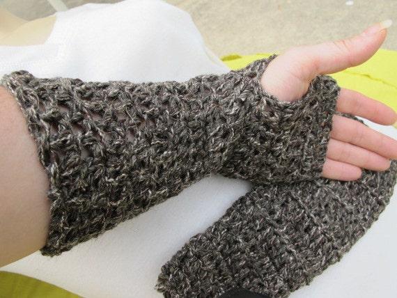 SALE - Brown Tweed Fingerless Gloves - Reclaimed Yarn - S/M (1314)
