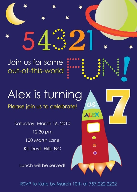 Out of this world outer space theme kids party invitation for Space themed stationery
