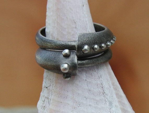Stacking archaic look silver rings. Made to order, needs three weeks to complete