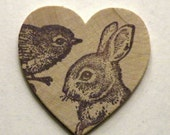 Bird and Bunny Wooden Heart Pin
