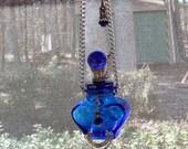 Hanging Bottle Vessel container Cobalt Blue Heart bottle - OOAK