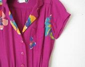 1970s Fuschia Floral cinch waist dress XS - S