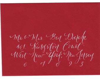 Calligraphy addressing  for envelopes wedding and event by Little Flower Calligraphy