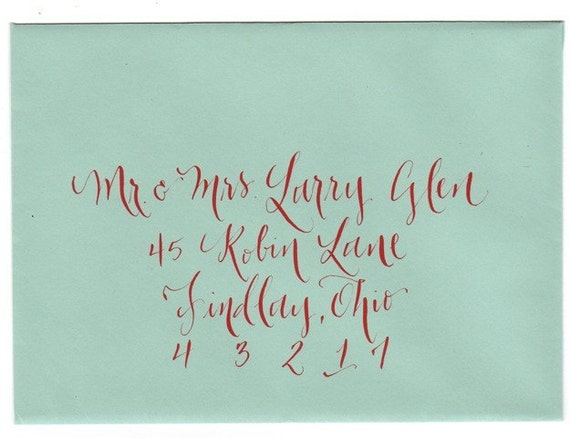 Calligraphy for envelope addresing wedding and events by Little Flower Calligraphy
