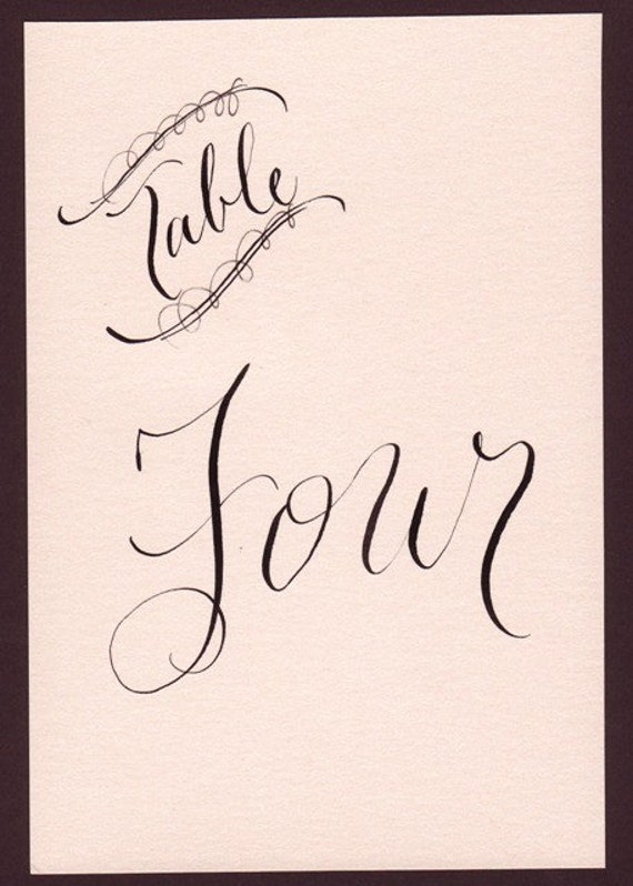 Items Similar To Table Numbers Custom Calligraphy For