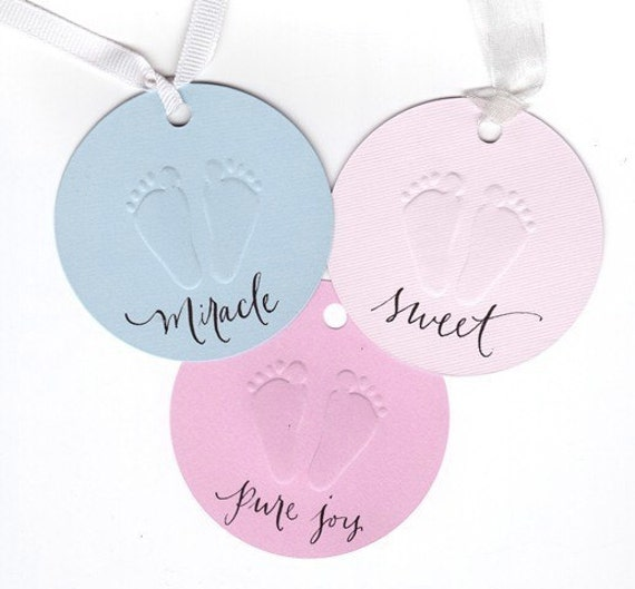 baby shower favor tags - round with calligraphy hand lettering