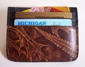 Multi-Pocket Card Case Wallet - Leaf Design Leather - Use for Business Cards, Credit Cards etc.