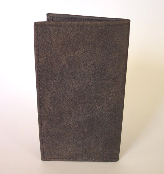 Brown Leather Checkbook Cover Holder - Distressed Brown Leather