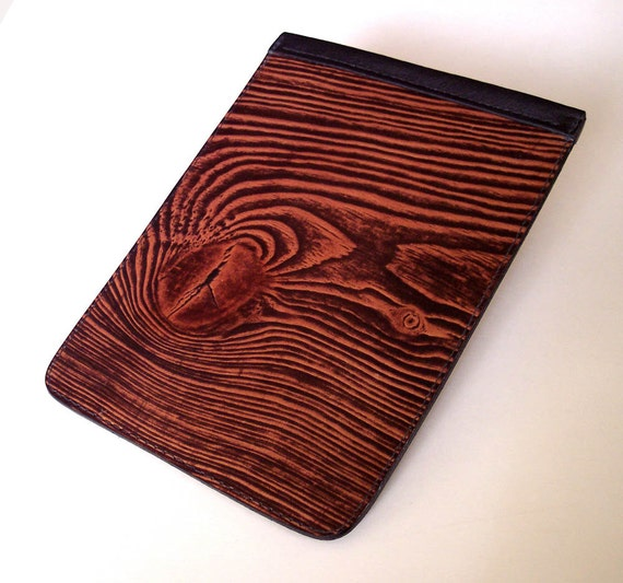 Kindle Fire or Kindle 3 Leather Case with Wood Grain Design