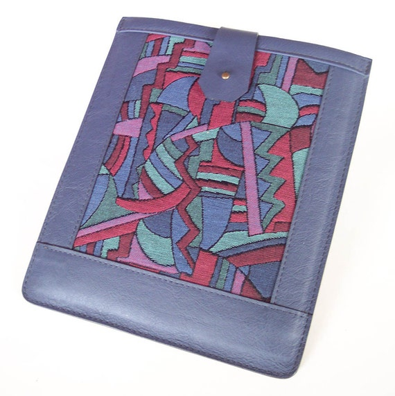 Leather iPad 2 Case Sleeve - Blue Leather with Abstract Fabric Inlay (Fits Both Models 1 and 2)