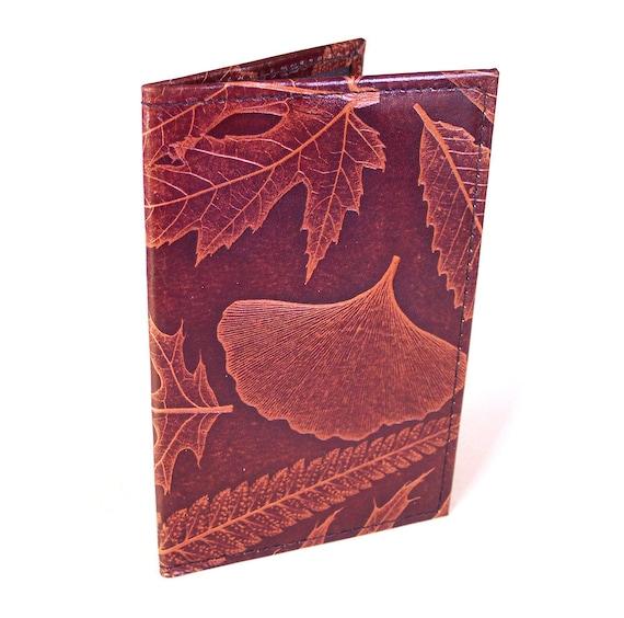 Leather Passport Case Holder - U.S. Canada European Australia etc. - with Leaf Design