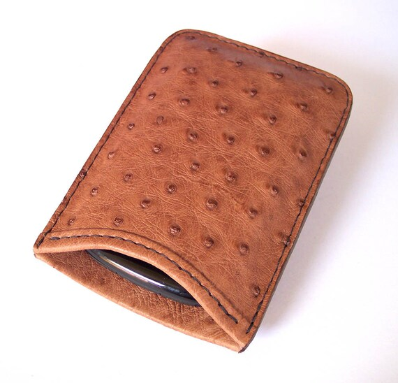 Leather Cell Phone Case for BlackBerry Bold or Curve Models - And HTC Ozone or Palm Treo Pro - Genuine Brown Ostrich Leather
