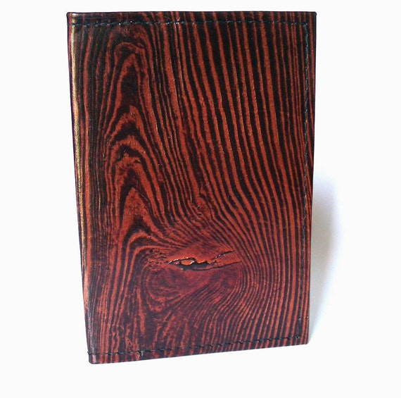 Leather Passport Case Wallet with Wood Grain Faux Bois Design - U.S. Canada European Australia etc.