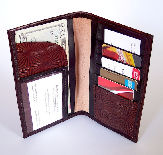 Leather Wallet with Prism Pattern - Holds Currency, Credit Cards, ID, Business Cards, etc.