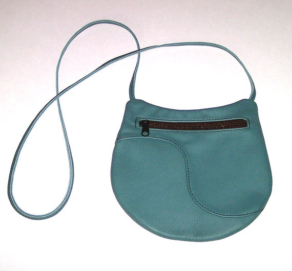 Teal Leather Purse - Crossbody Style - Medium Round - Immediate Shipping