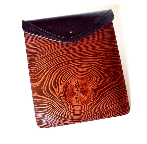 Leather iPad Case for Models 3 or 2 - Wood Grain Design