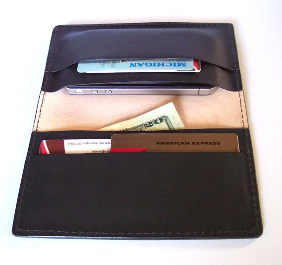 Leather Cell Phone Case/Wallet For Large Size Phones - HTC, Nokia, Samsung, LG etc.. (120mm to 135 mm by 60mm to 70mm wide)
