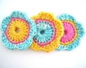 Floral Crochet Applique/Embellishements Turquoise/White Variegated, Pink, Yellow
