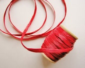 Cherry red cello Raffia ribbon Spool - for gift wrapping, trimming, scrapbooking, decorating, weddings, party supply, holiday
